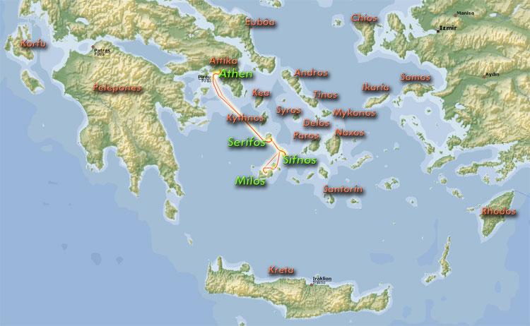 Kykladen Karte.Griechenland 2007
